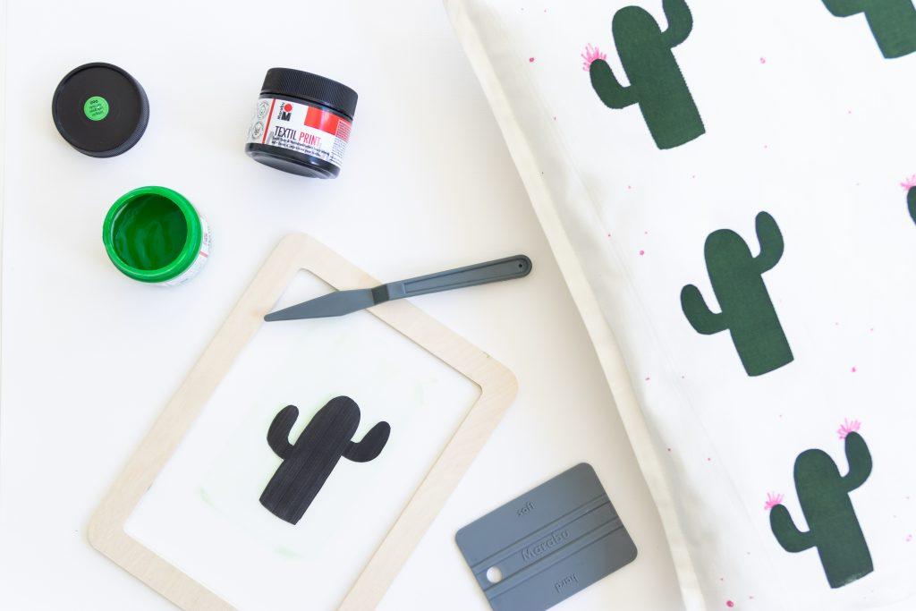 Diy Kaktuskissen Mit Siebdruck