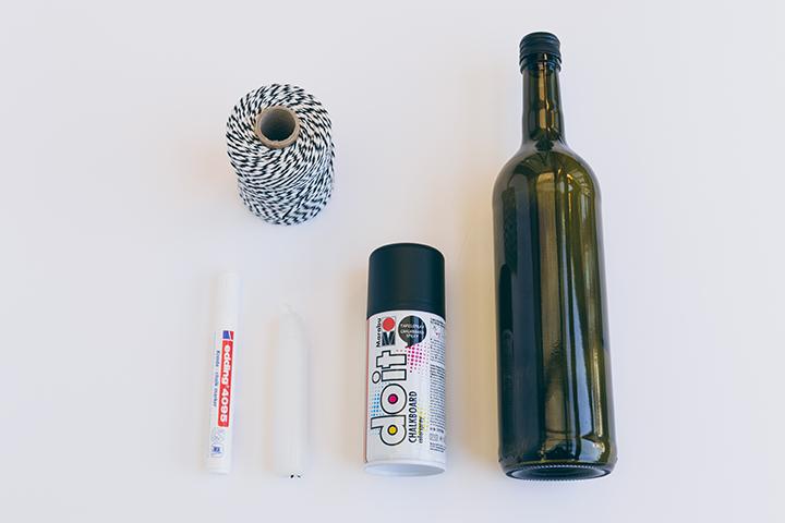 Adventskranz aus Flaschen selbermachen. Das benötigte Material.