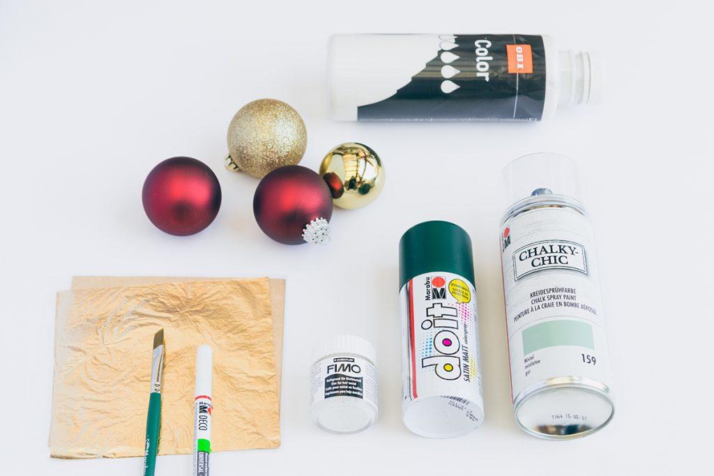 Weihnachtskugeln verzieren - Material