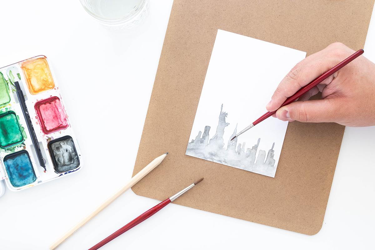 DIY Watercolor Postkarte gestalten