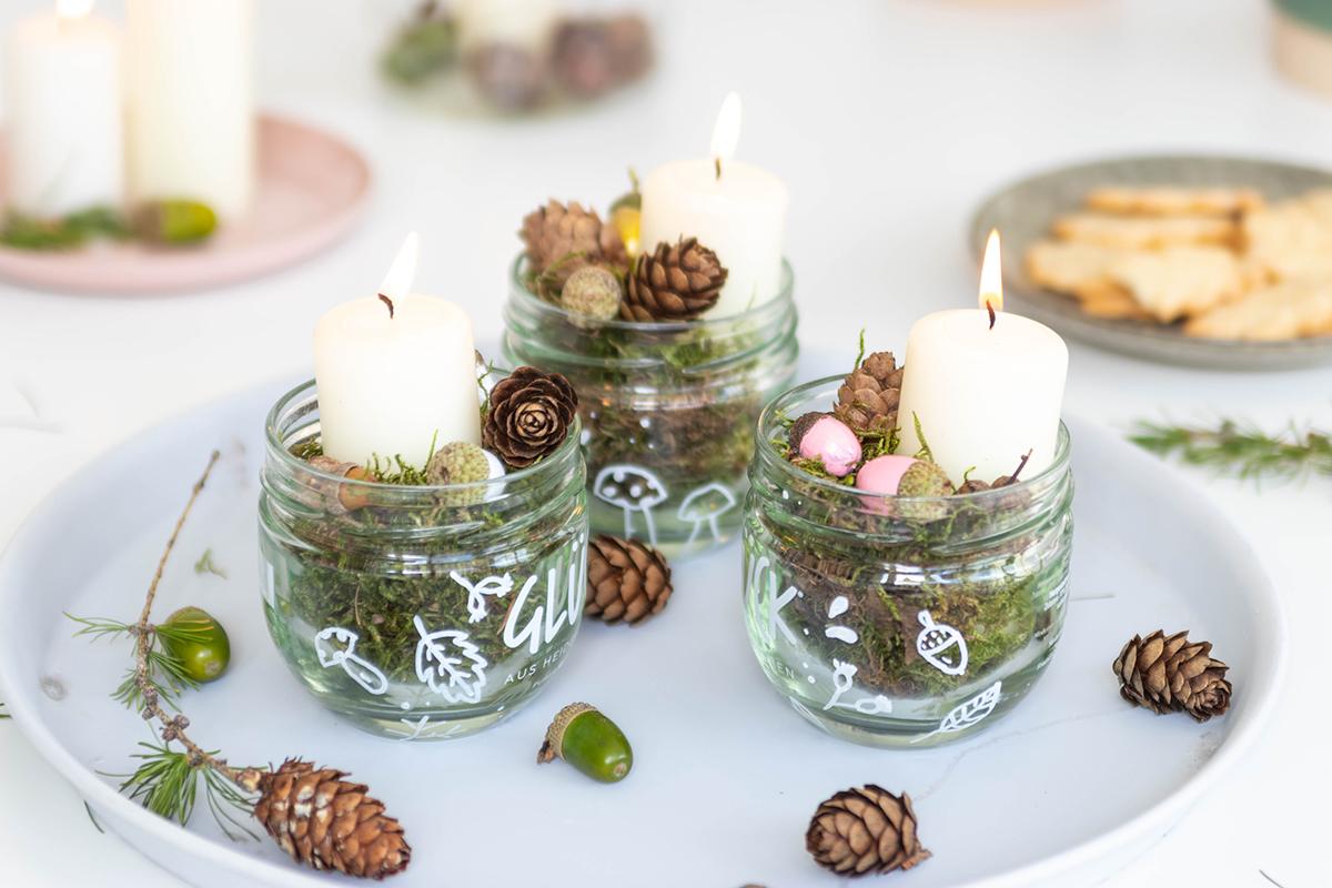 DIY: Herbstliche Tischdeko im Glas mit Naturmaterial basteln