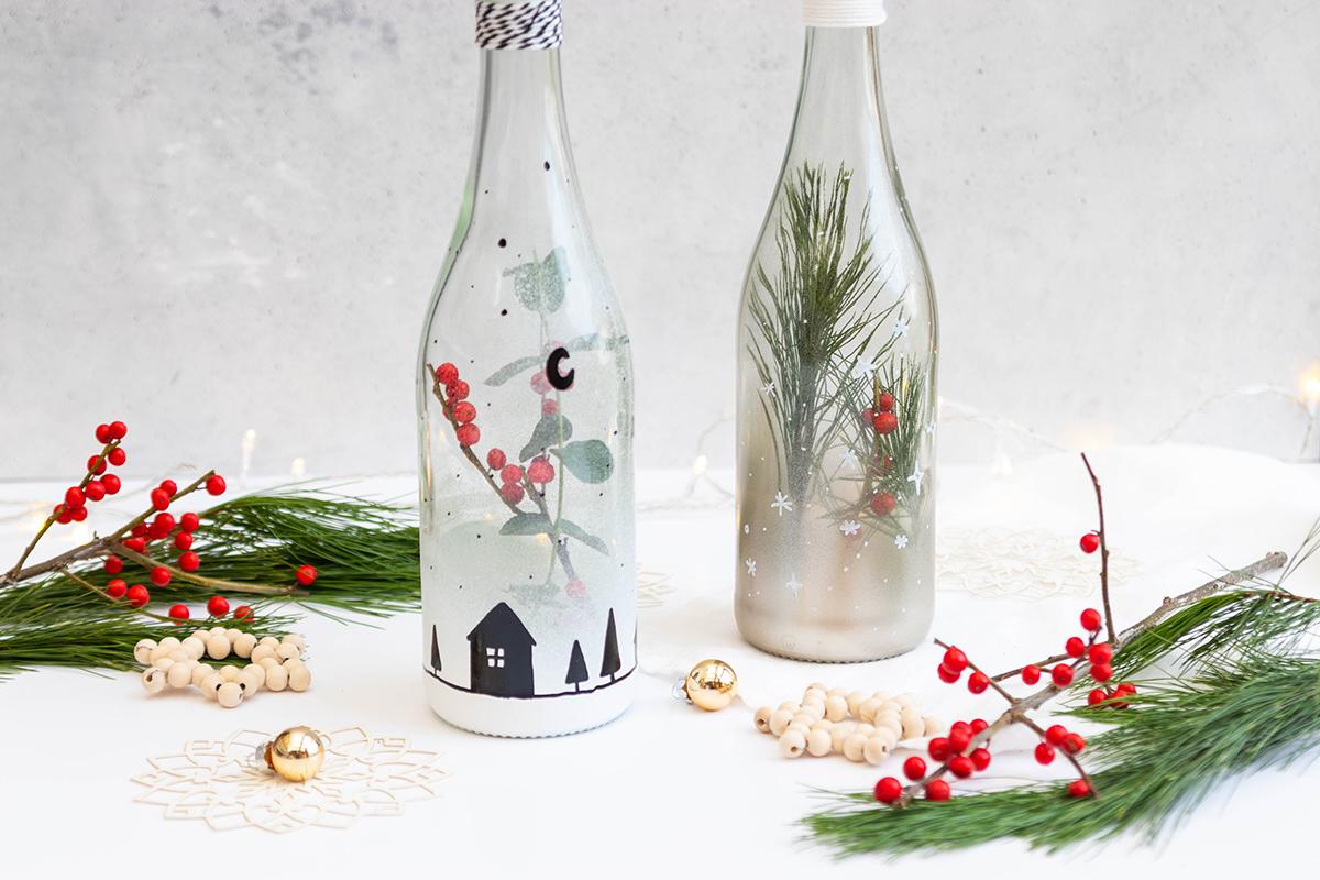 Weihnachtliche DIY Flaschendeko