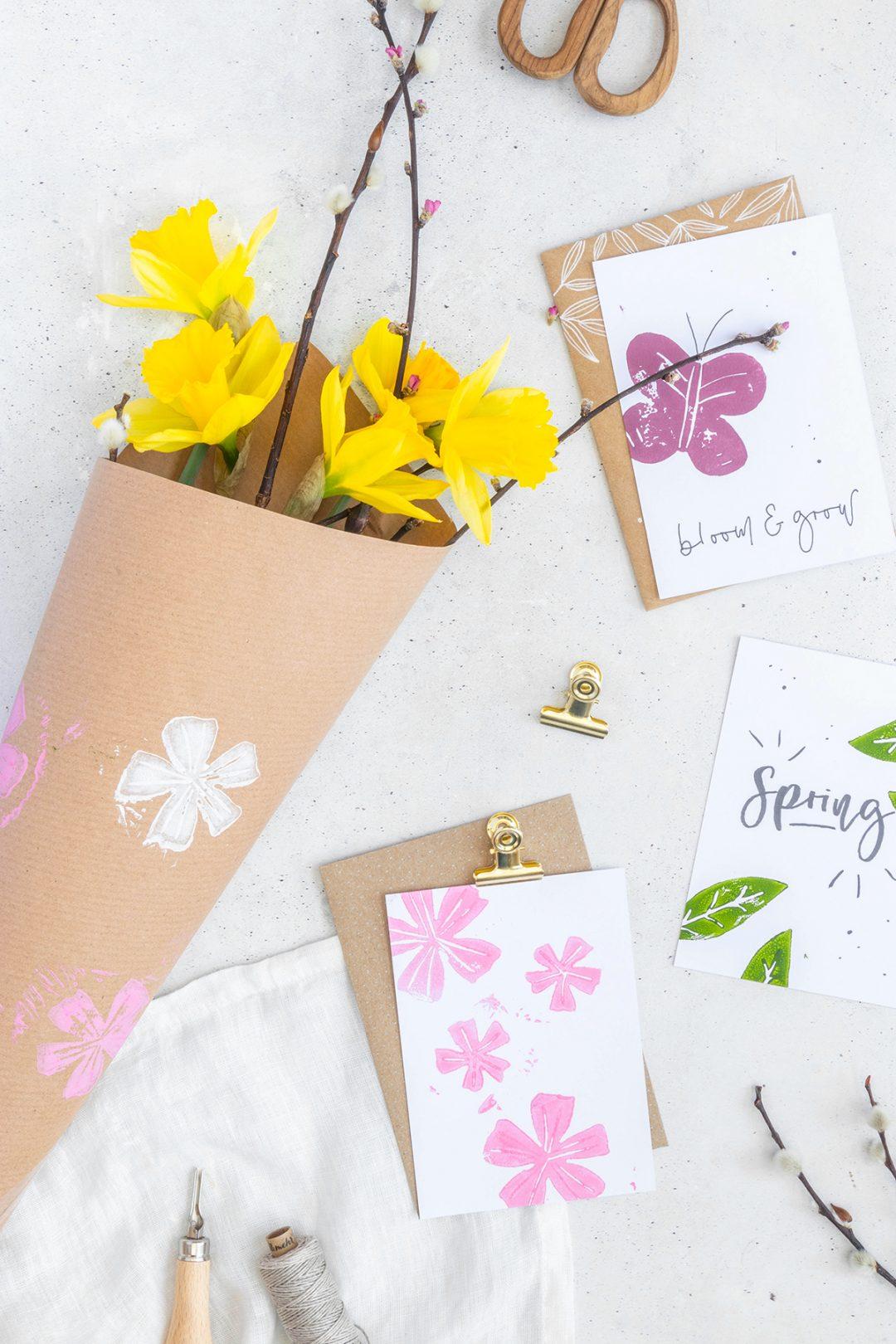 postkarten mit linoldruck