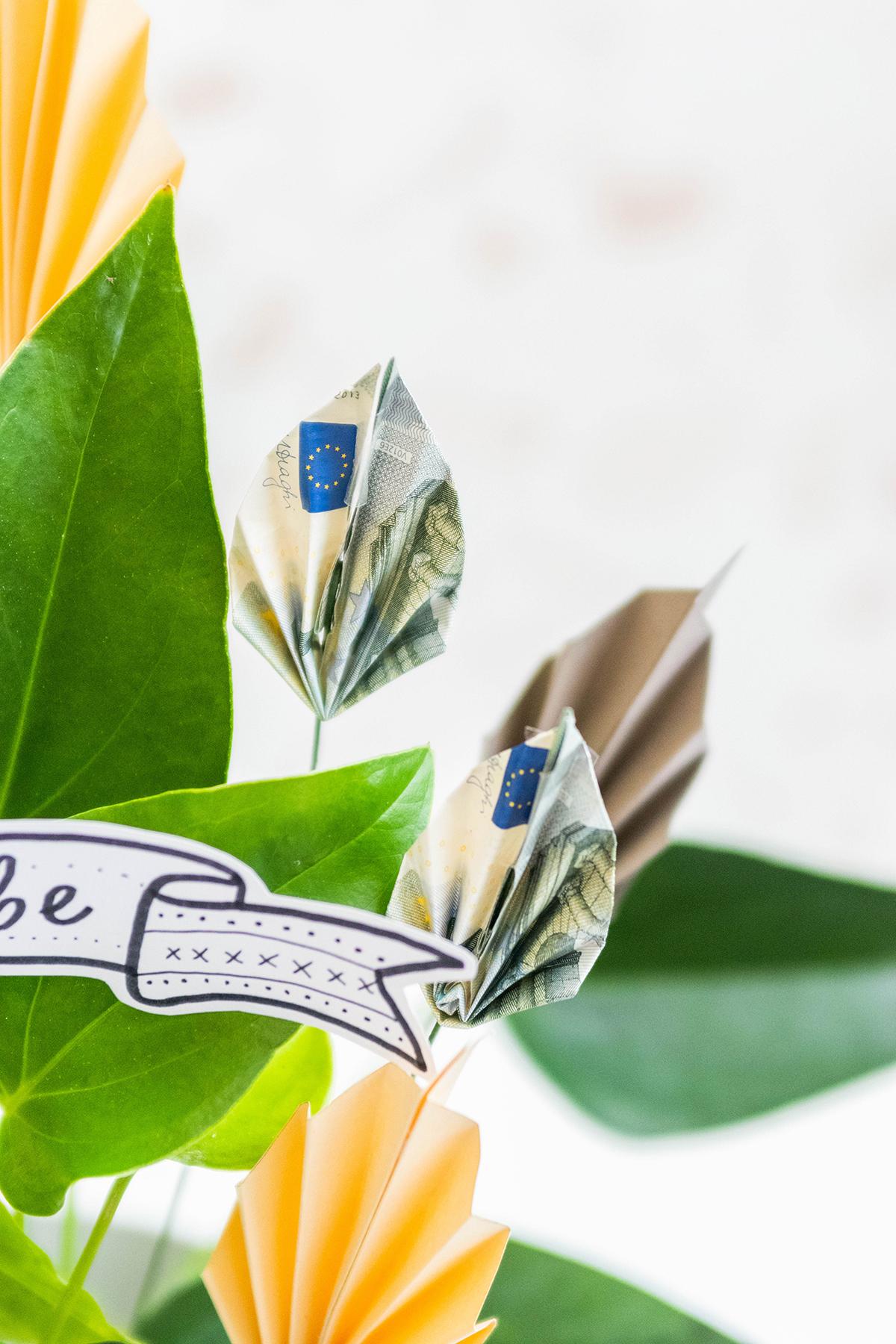 kreatives Geldgeschenk im pflanztopf basteln