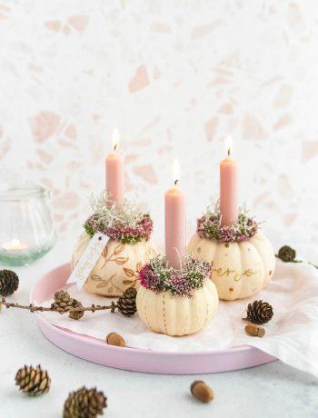 DIY Kürbisdeko mit Kerzen basteln